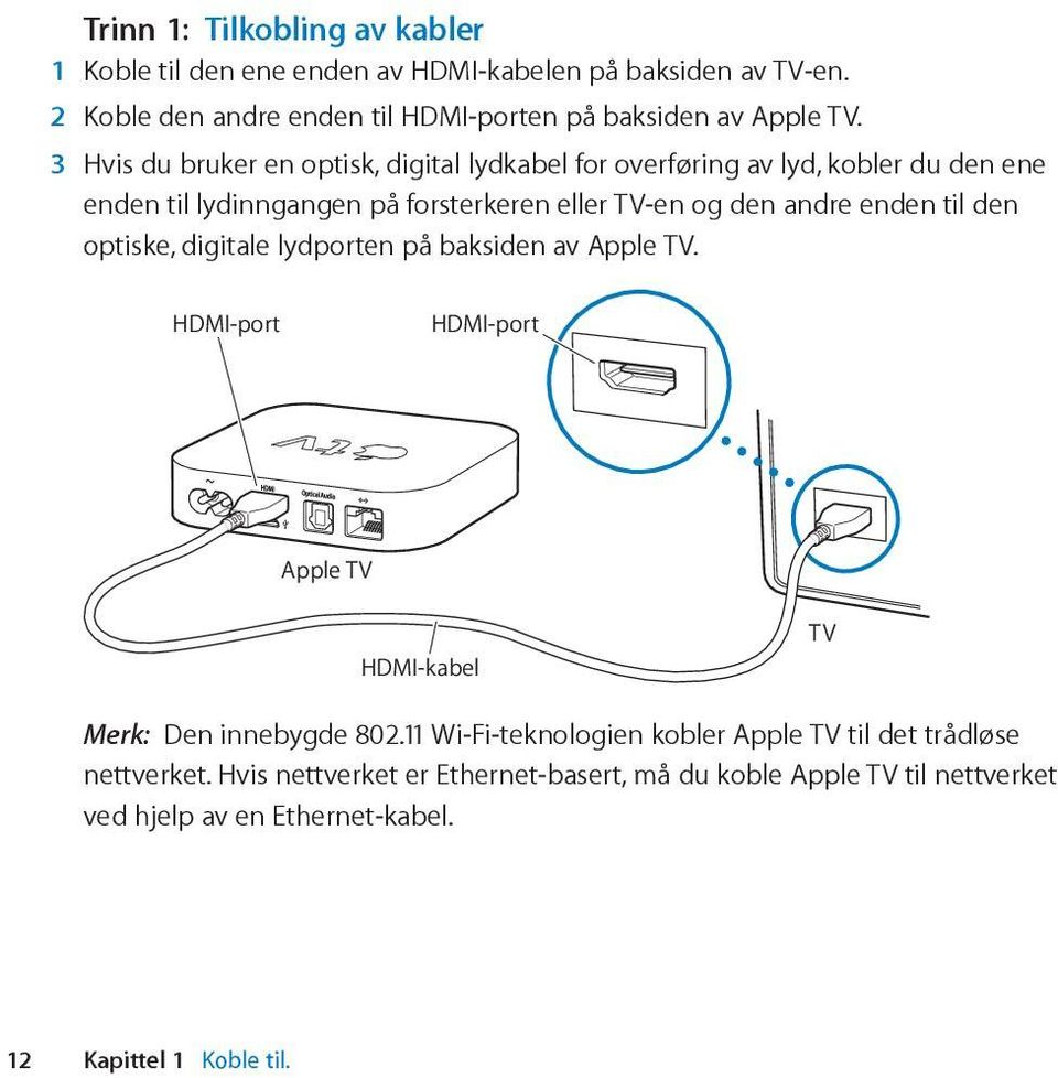 den optiske, digitale lydporten på baksiden av Apple TV. HDMI-port HDMI-port Apple TV HDMI-kabel TV Merk: Den innebygde 802.
