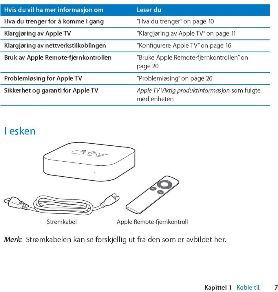 Remote-fjernkontrollen on page 20 Problemløsing for Apple TV Problemløsing on page 26 Sikkerhet og garanti for Apple TV Apple TV Viktig
