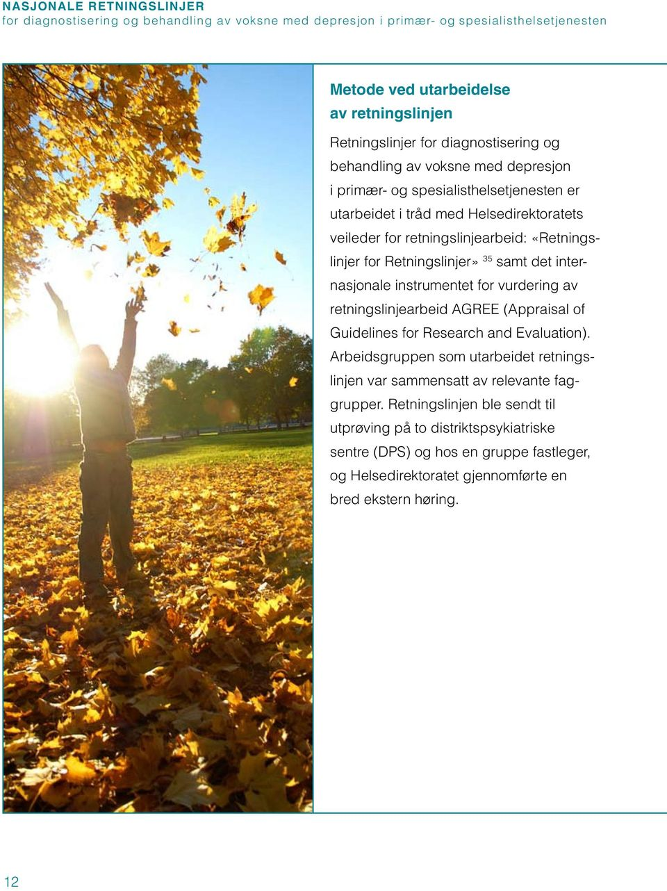 Retningslinjer» 35 samt det internasjonale instrumentet for vurdering av retningslinjearbeid AGREE (Appraisal of Guidelines for Research and Evaluation).