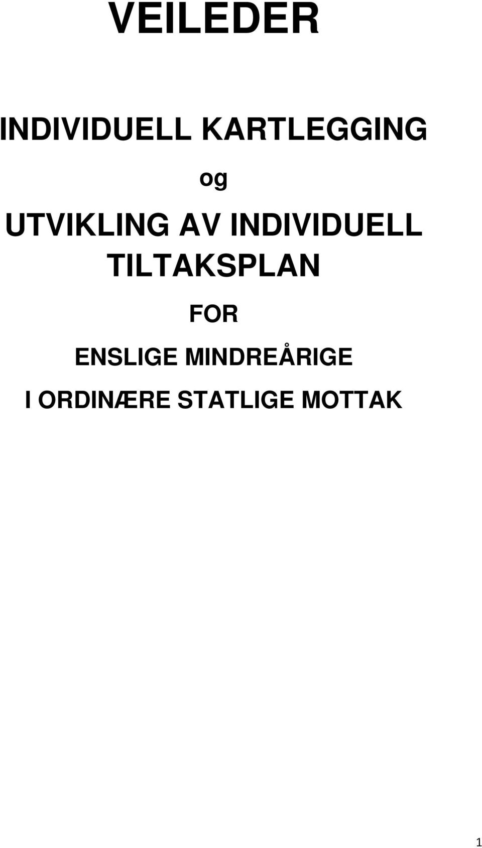 INDIVIDUELL TILTAKSPLAN FOR