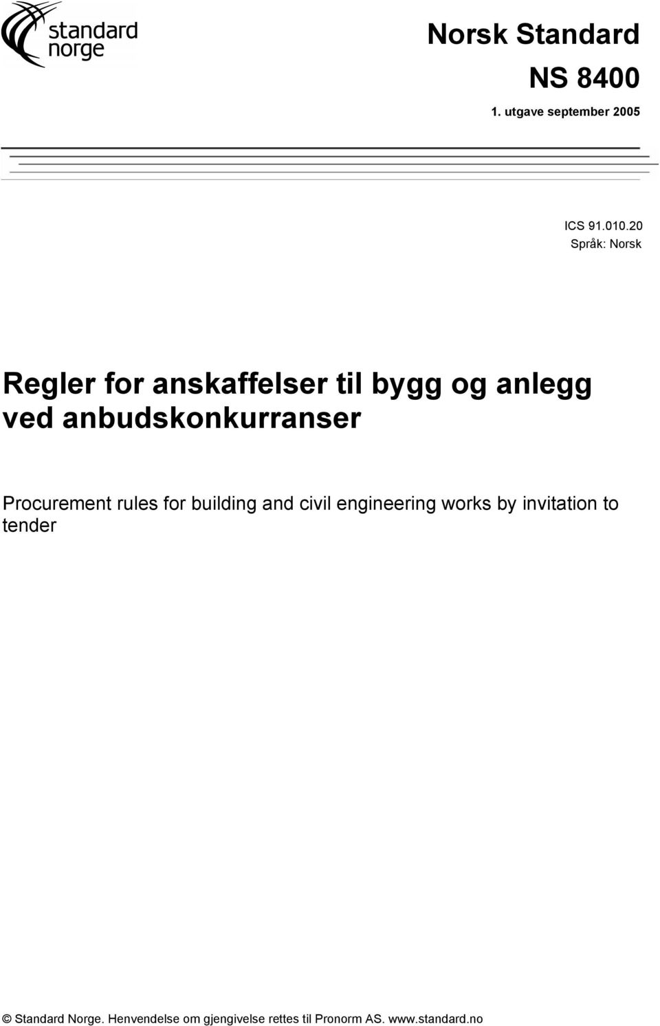 anbudskonkurranser Procurement rules for building and civil engineering