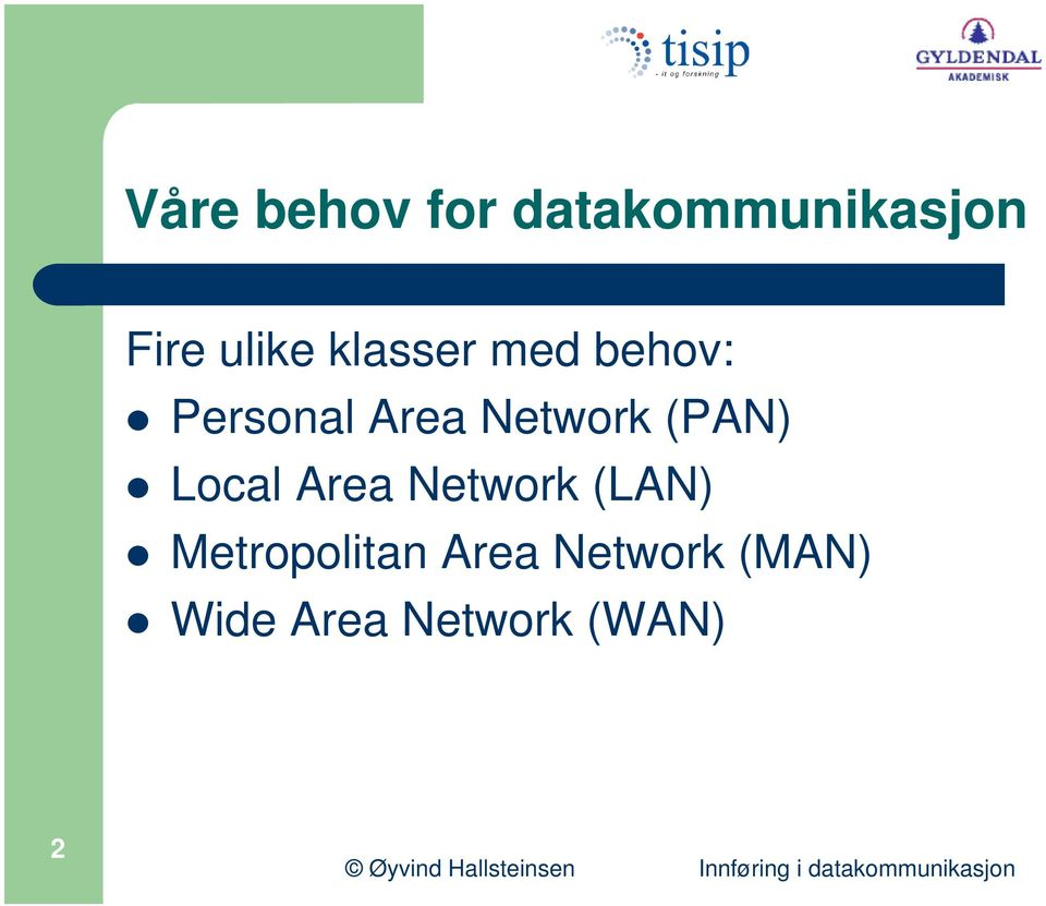 (PAN) Local Area Network (LAN) Metropolitan