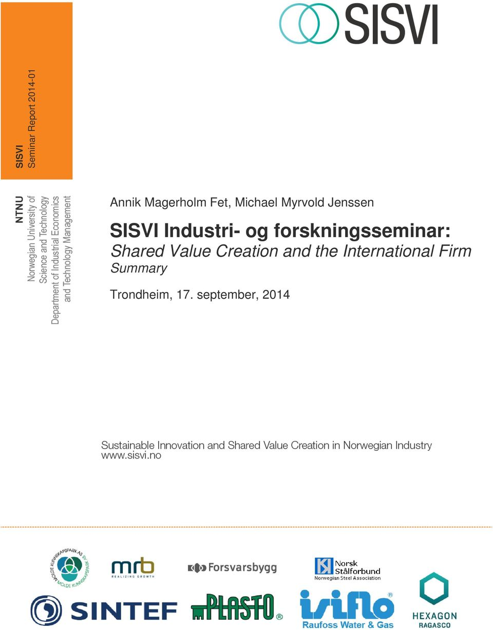 forskningsseminar: Shared Value Creation and the
