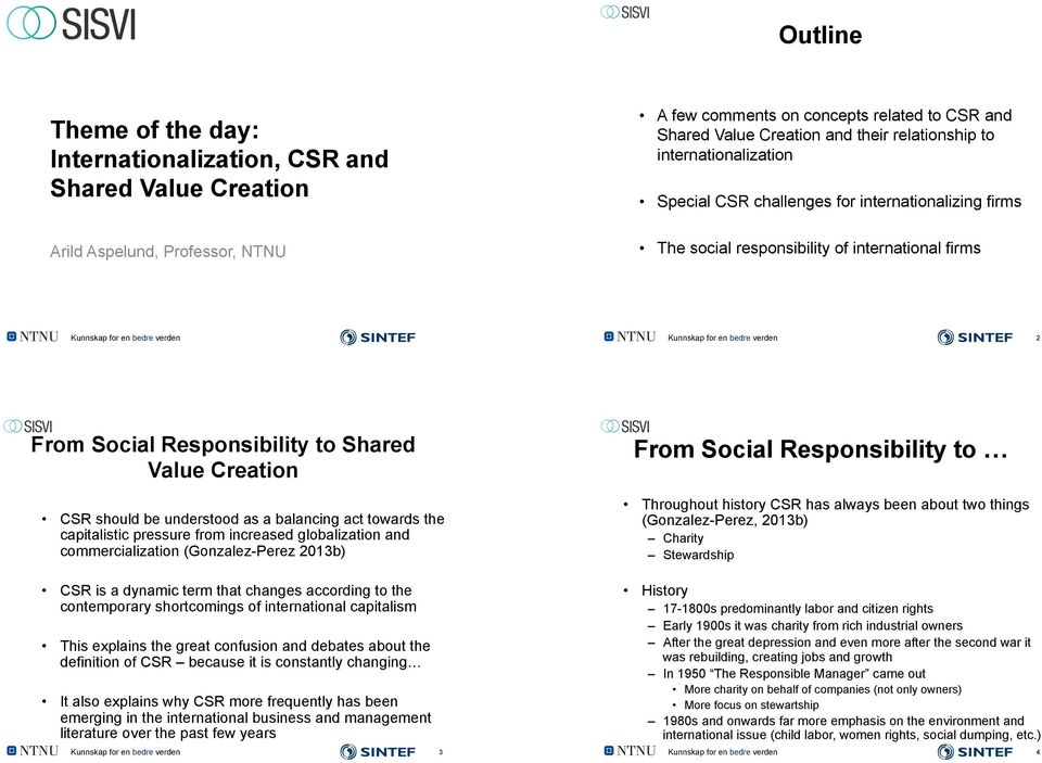From Social Responsibility to Shared Value Creation CSR should be understood as a balancing act towards the capitalistic pressure from increased globalization and commercialization (Gonzalez-Perez