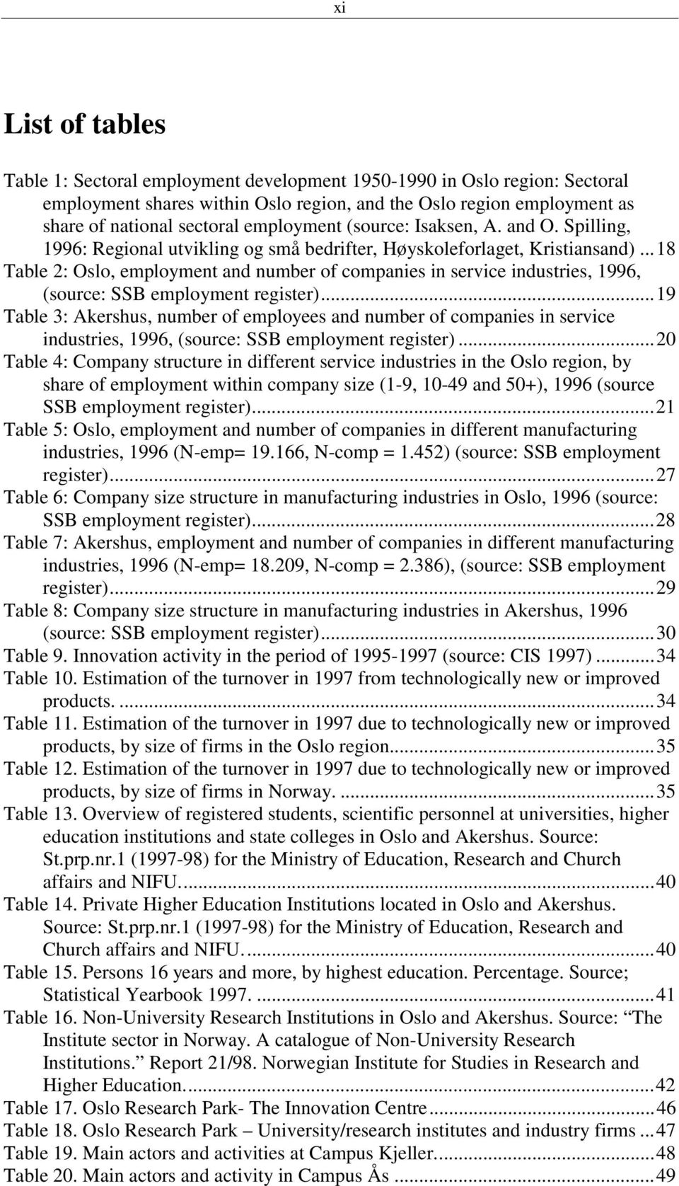..18 Table 2: Oslo, employment and number of companies in service industries, 1996, (source: SSB employment register).