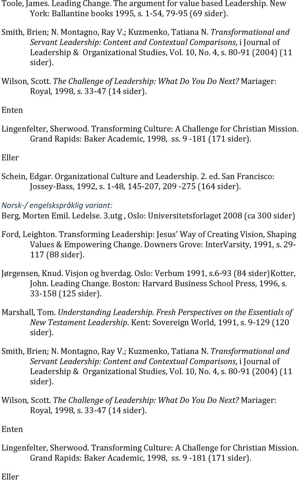 The Challenge of Leadership: What Do You Do Next? Mariager: Royal, 1998, s. 33 47 (14 sider). Enten Lingenfelter, Sherwood. Transforming Culture: A Challenge for Christian Mission.