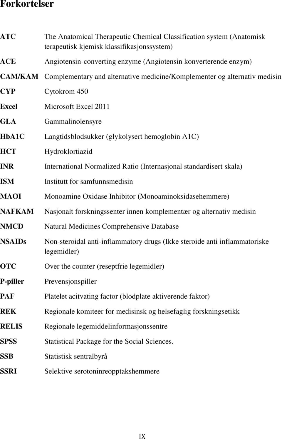 SPSS SSB SSRI Gammalinolensyre Langtidsblodsukker (glykolysert hemoglobin A1C) Hydroklortiazid International Normalized Ratio (Internasjonal standardisert skala) Institutt for samfunnsmedisin