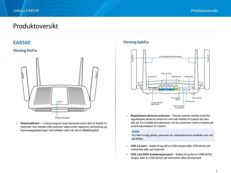 0/ esata Port Wi-Fi On/Off Button Wi-Fi Protected Setup Button Reset Button Power Switch Power Indicator awing of top view page 1> Strømindikator Linksys-logoen lyser konstant mens den er koblet til