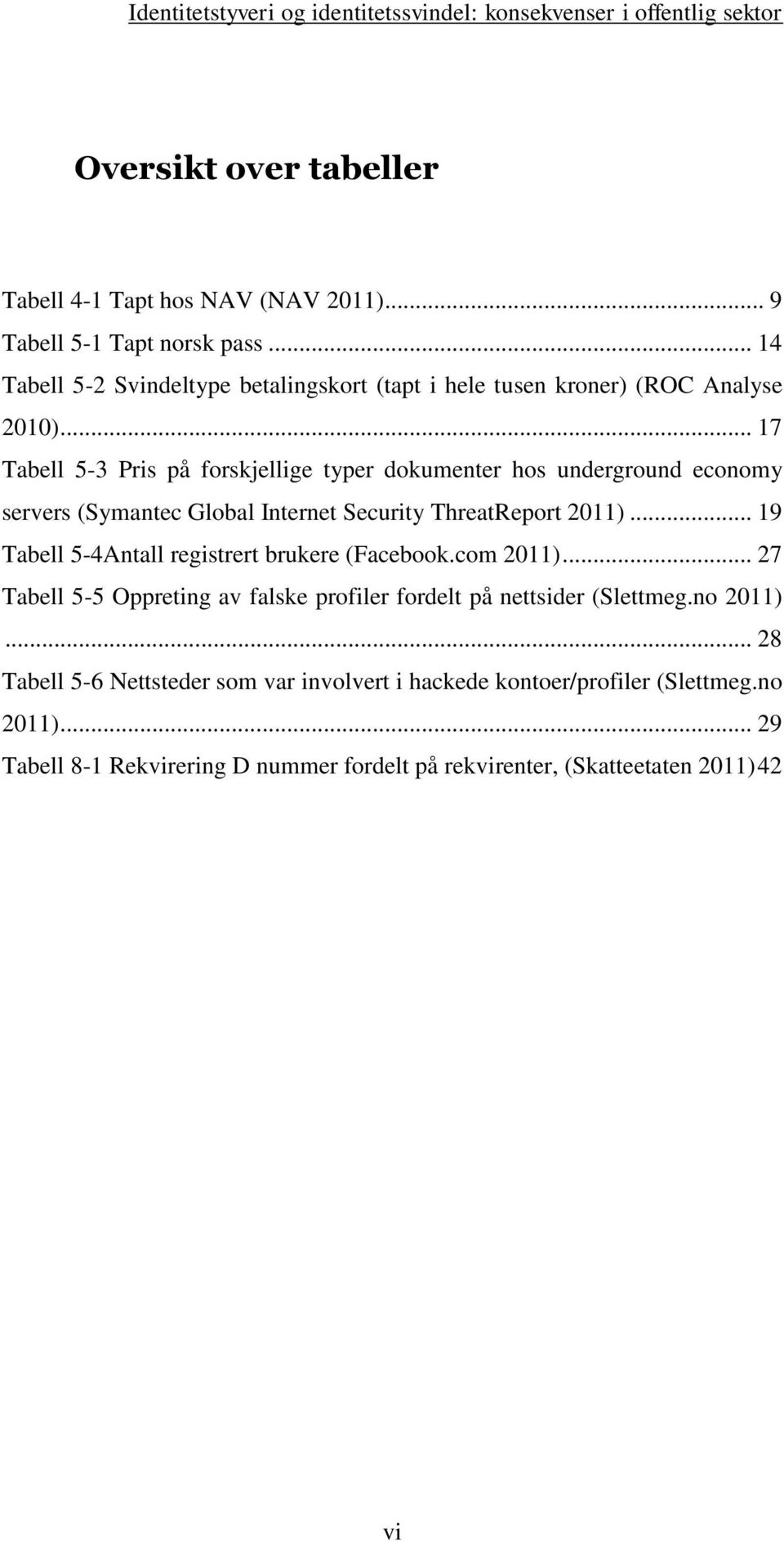 .. 17 Tabell 5-3 Pris på forskjellige typer dokumenter hos underground economy servers (Symantec Global Internet Security ThreatReport 2011).