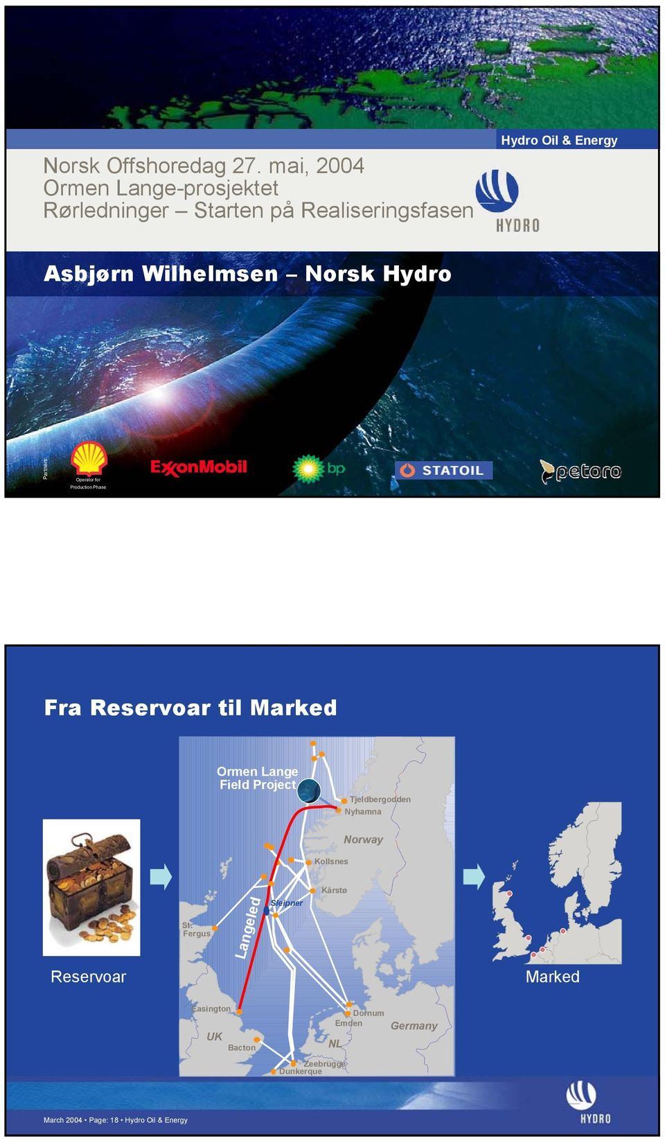 Wilhelmsen Norsk Hydro Partners: Operator for Production Phase Fra Reservoar til Marked Ormen Lange Field