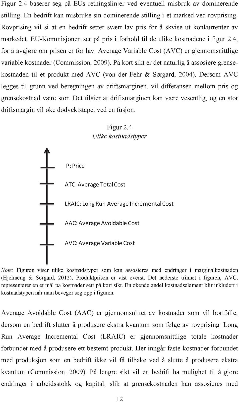 4, for å avgjøre om prisen er for lav. Average Variable Cost (AVC) er gjennomsnittlige variable kostnader (Commission, 2009).