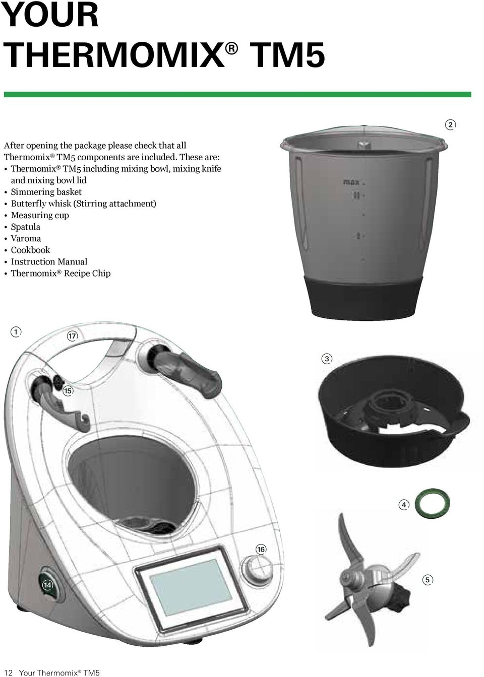 These are: Thermomix TM5 including mixing bowl, mixing knife and mixing bowl lid Simmering