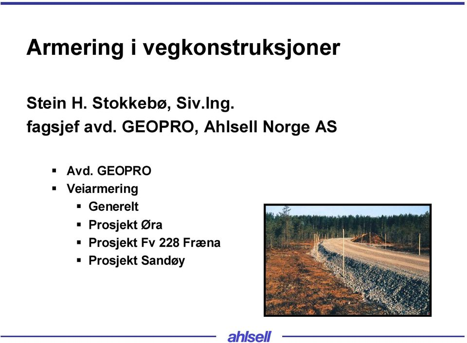 GEOPRO, Ahlsell Norge AS Avd.