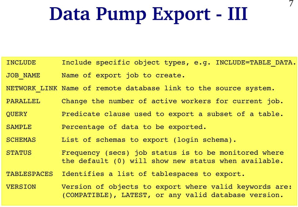 Predicate clause used to export a subset of a table. Percentage of data to be exported. List of schemas to export (login schema).