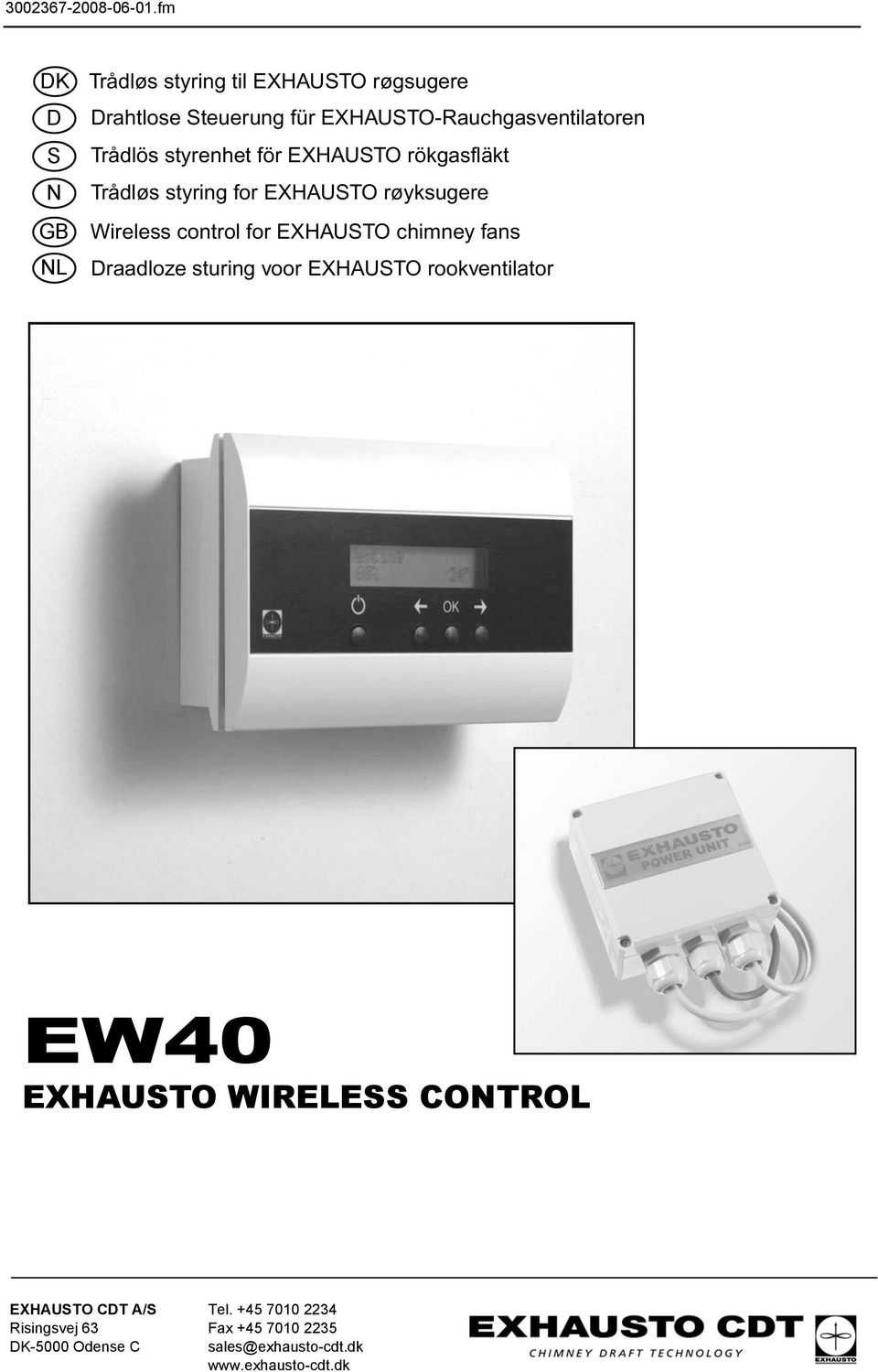 EXHAUSTO chimney fans Draadloze sturing voor EXHAUSTO rookventilator EW40 EXHAUSTO WIRELESS CONTROL EXHAUSTO