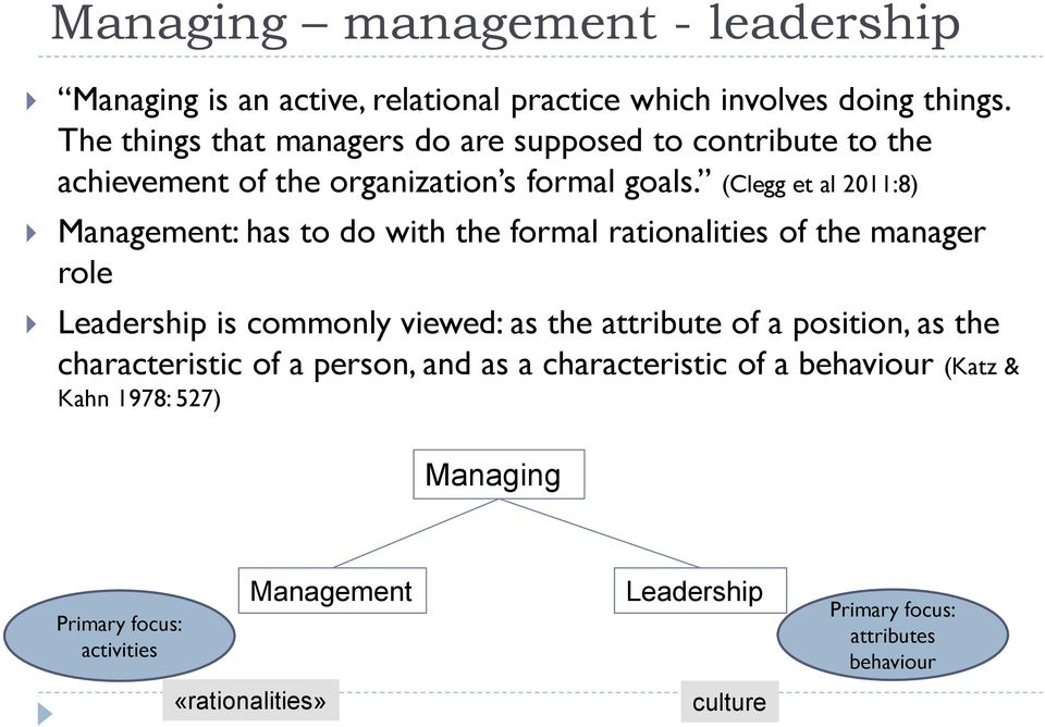 (Clegg et al 2011:8) Management: has to do with the formal rationalities of the manager role Leadership is commonly viewed: as the attribute of a