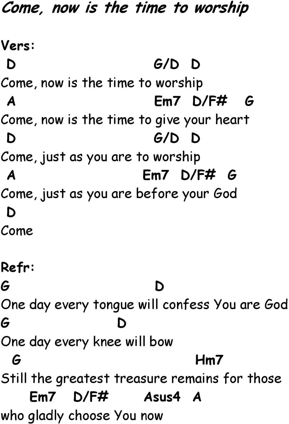 before your od ome Refr: One day every tongue will confess You are od One day every knee