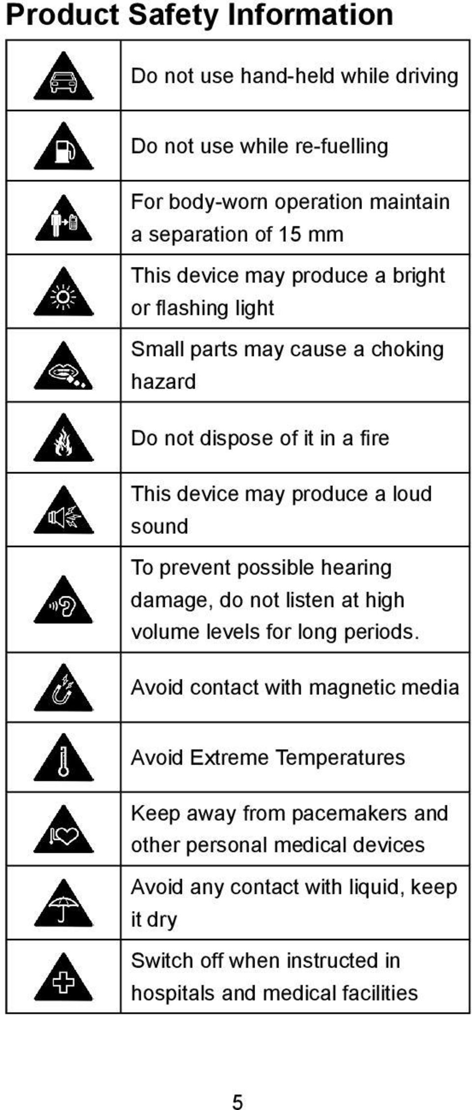 prevent possible hearing damage, do not listen at high volume levels for long periods.
