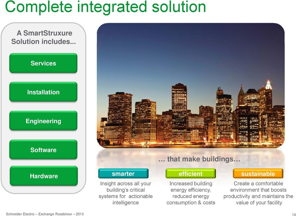 building s systems for actionable intelligence Schneider Electric Exchange Roadshow 2013 efficient sustainable