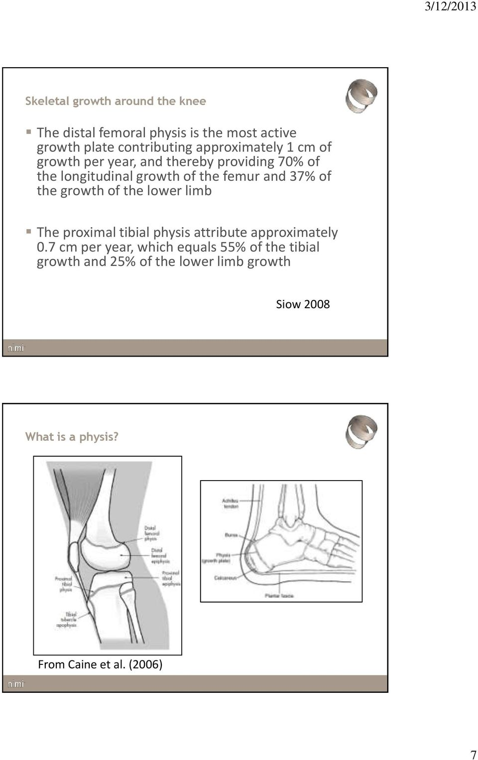 37% of the growth of the lower limb The proximal tibial physis attribute approximately 0.