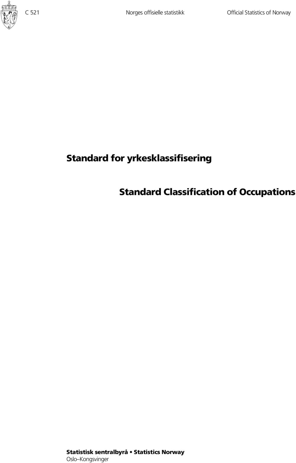 Classification of Occupations Statistisk