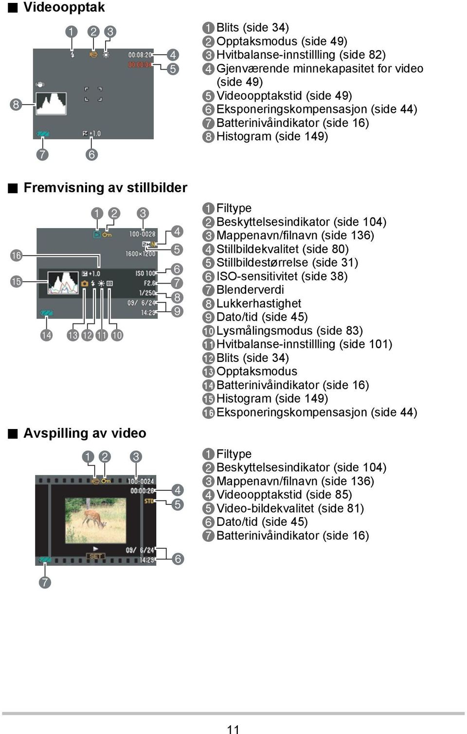 Avspilling av video 7 12 3 4 5 6 7 8 9 4 5 6 1Filtype 2Beskyttelsesindikator (side 104) 3Mappenavn/filnavn (side 136) 4Stillbildekvalitet (side 80) 5Stillbildestørrelse (side 31) 6ISO-sensitivitet