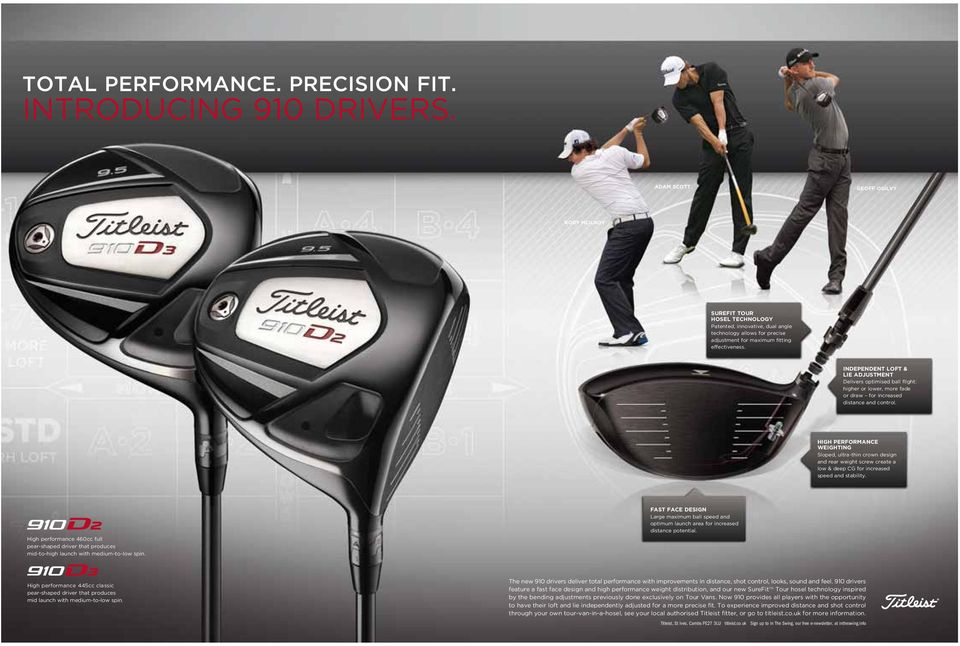 INDEPENDENT LOFT & LIE ADJUSTMENT Delivers optimised ball flight: higher or lower, more fade or draw for increased distance and control.