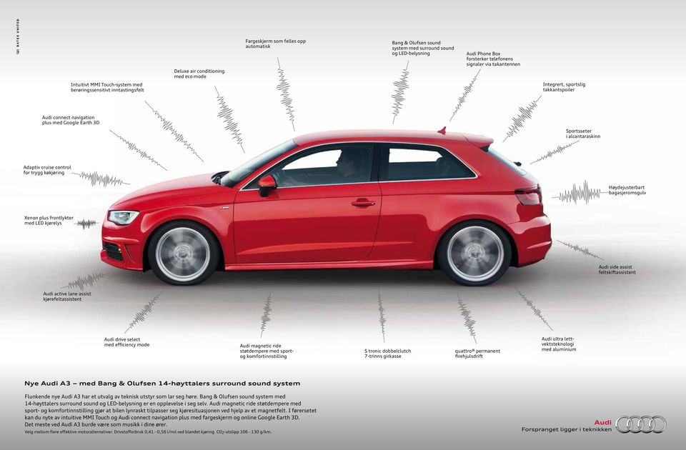 control for trygg køkjøring Høydejusterbart bagasjeromsgulv Xenon plus frontlykter med LED kjørelys Audi side assist feltskiftassistent Audi active lane assist kjørefeltassistent Audi drive select