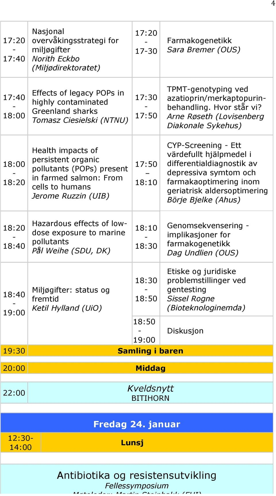Arne Røseth (Lovisenberg Diakonale Sykehus) 18:00 18:20 Health impacts of persistent organic pollutants (POPs) present in farmed salmon: From cells to humans Jerome Ruzzin (UIB) 17:50 18:10