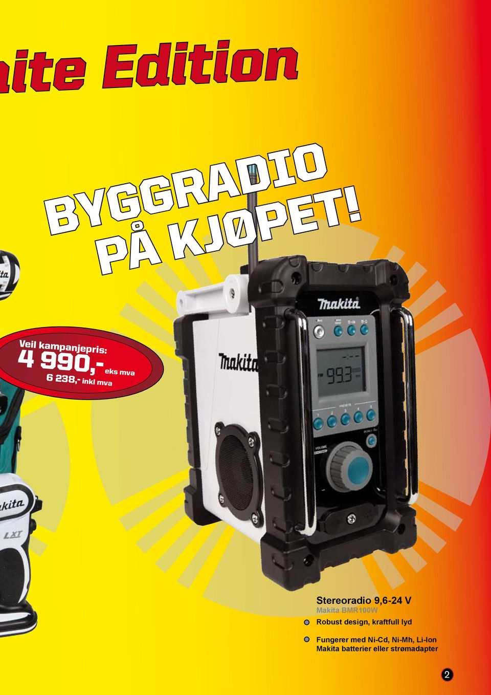 Makita BMR100W Robust design, kraftfull lyd