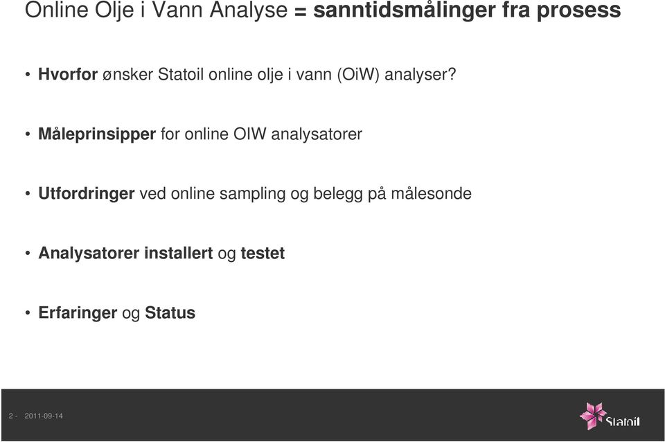 Måleprinsipper for online OIW analysatorer Utfordringer ved online