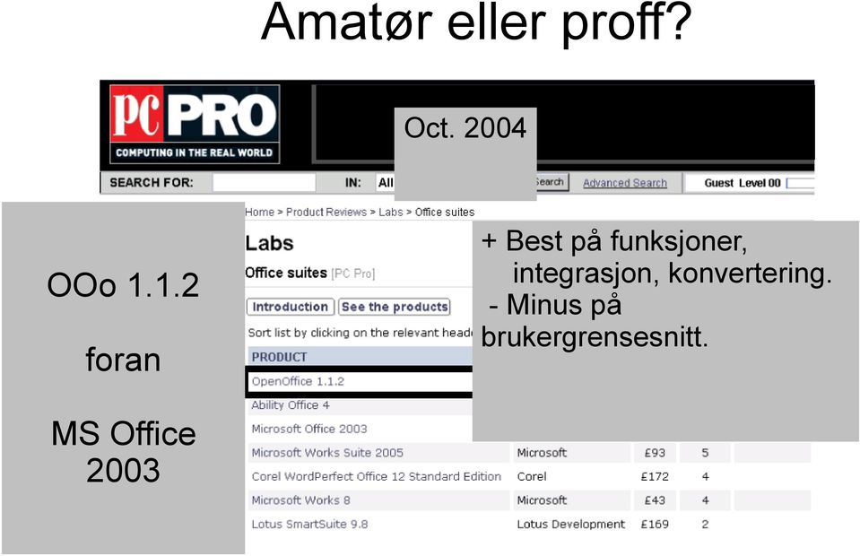 1.2 foran MS Office 2003 + Best på