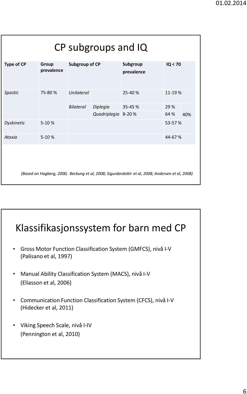 2008) Klassifikasjonssystem for barn med CP Gross Motor Function Classification System (GMFCS), nivå I-V (Palisano et al, 1997) Manual Ability Classification System