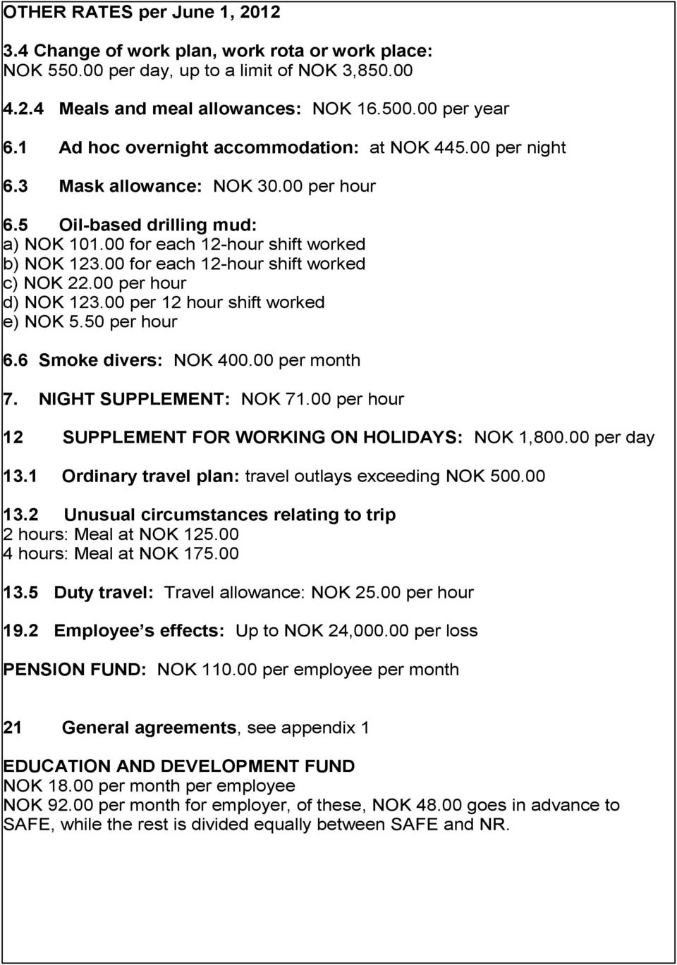 00 for each 12-hour shift worked c) NOK 22.00 per hour d) NOK 123.00 per 12 hour shift worked e) NOK 5.50 per hour 6.6 Smoke divers: NOK 400.00 per month 7. NIGHT SUPPLEMENT: NOK 71.