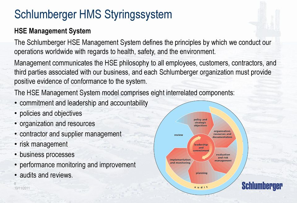 Management communicates the HSE philosophy to all employees, customers, contractors, and third parties associated with our business, and each Schlumberger organization must provide