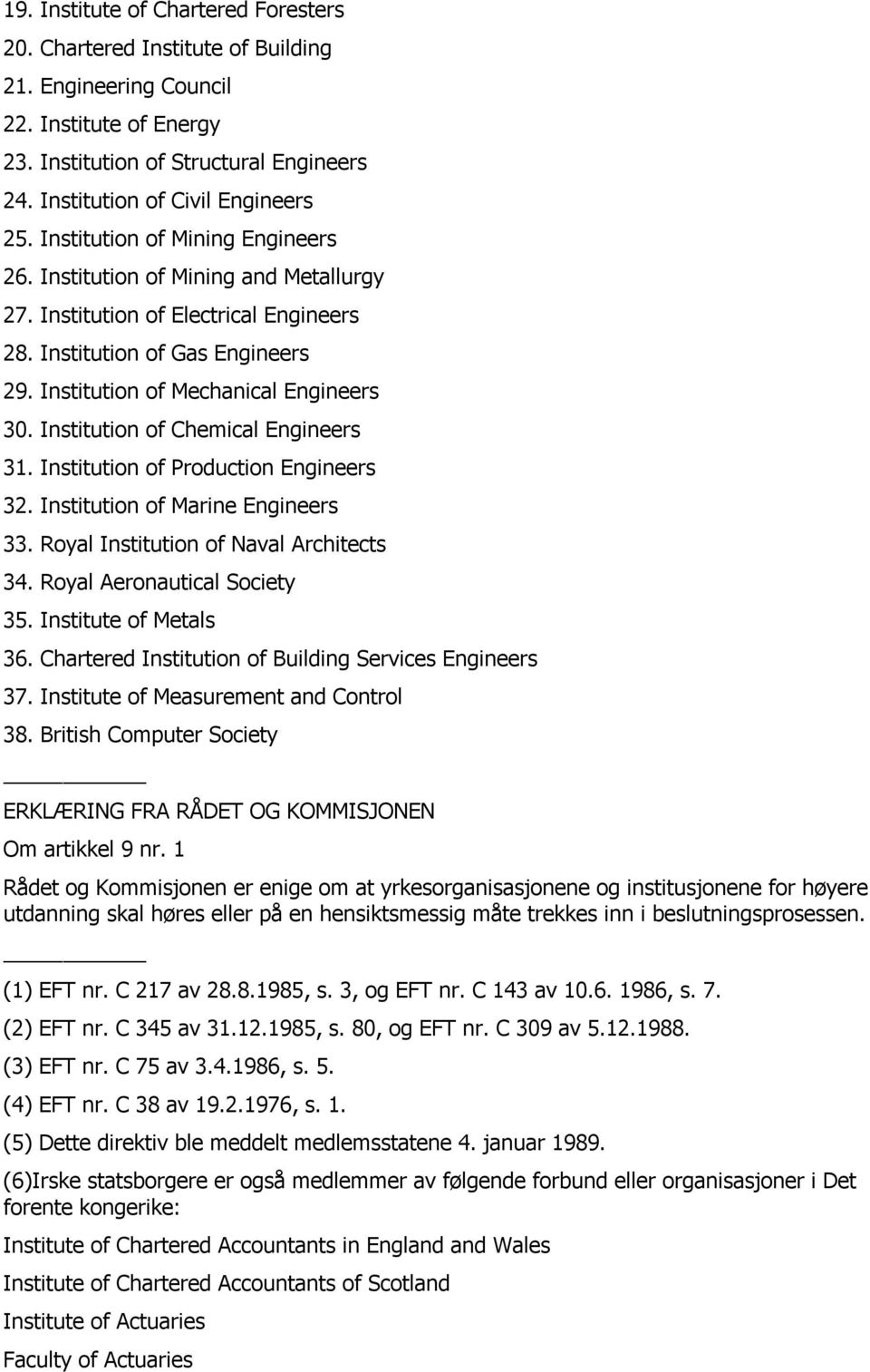 Institution of Chemical Engineers 31. Institution of Production Engineers 32. Institution of Marine Engineers 33. Royal Institution of Naval Architects 34. Royal Aeronautical Society 35.