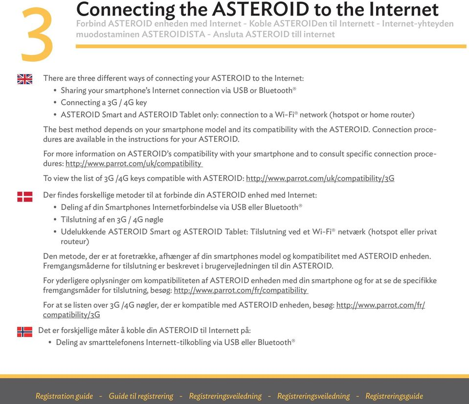 only: connection to a Wi-Fi network (hotspot or home router) The best method depends on your smartphone model and its compatibility with the ASTEROID.