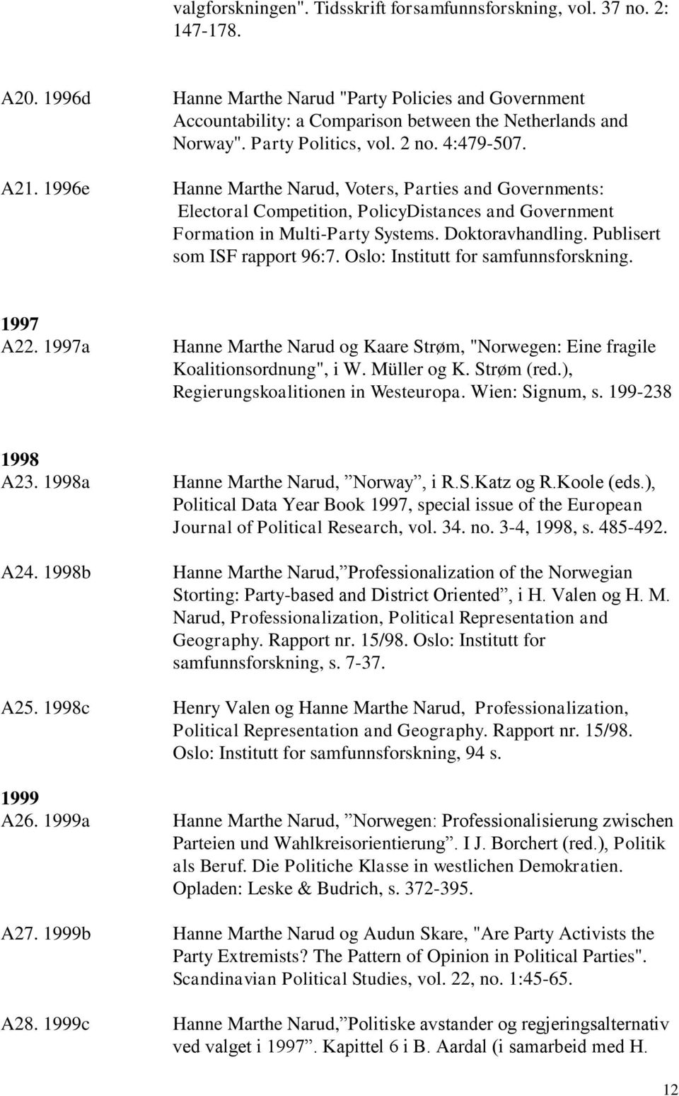 1996e Hanne Marthe Narud, Voters, Parties and Governments: Electoral Competition, PolicyDistances and Government Formation in Multi-Party Systems. Doktoravhandling. Publisert som ISF rapport 96:7.