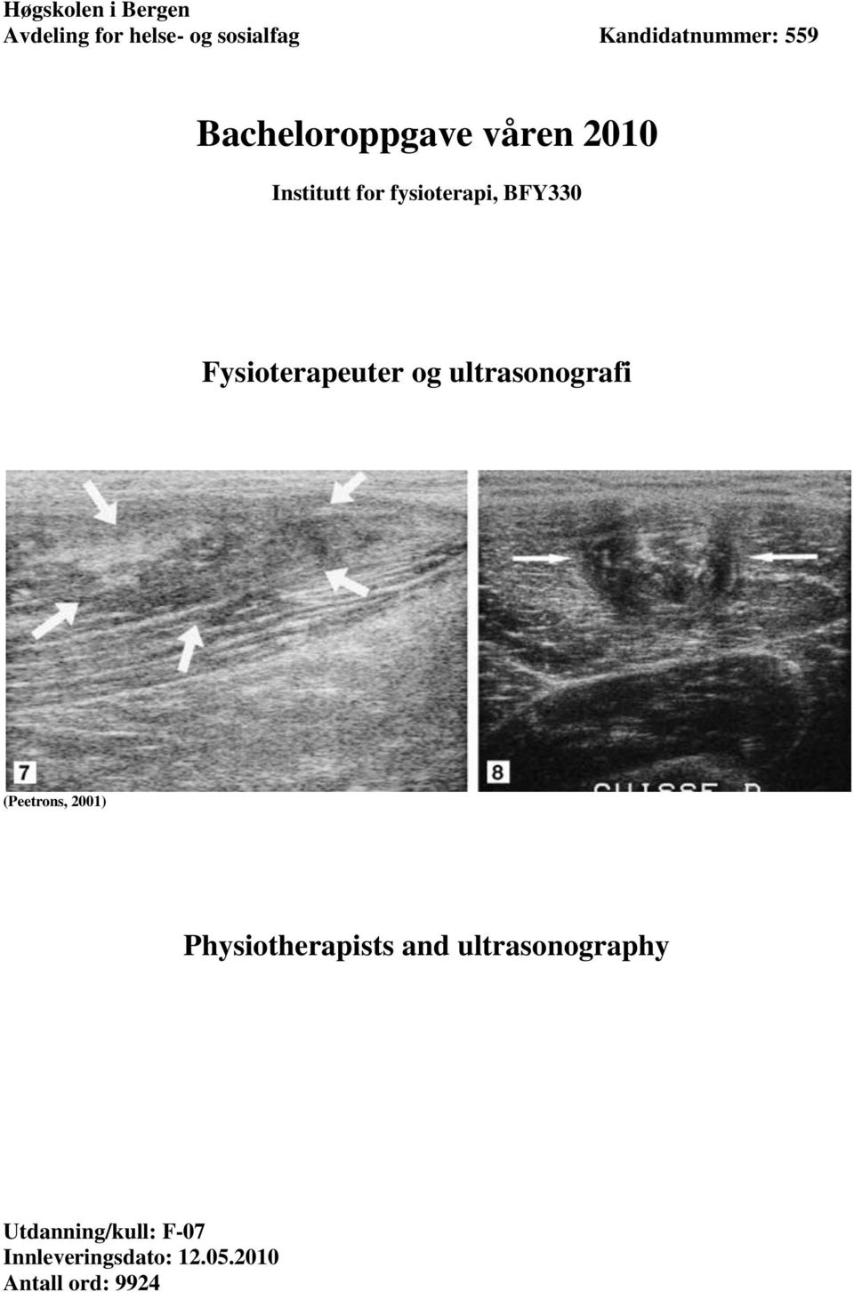 Fysioterapeuter og ultrasonografi (Peetrons, 2001) Physiotherapists and
