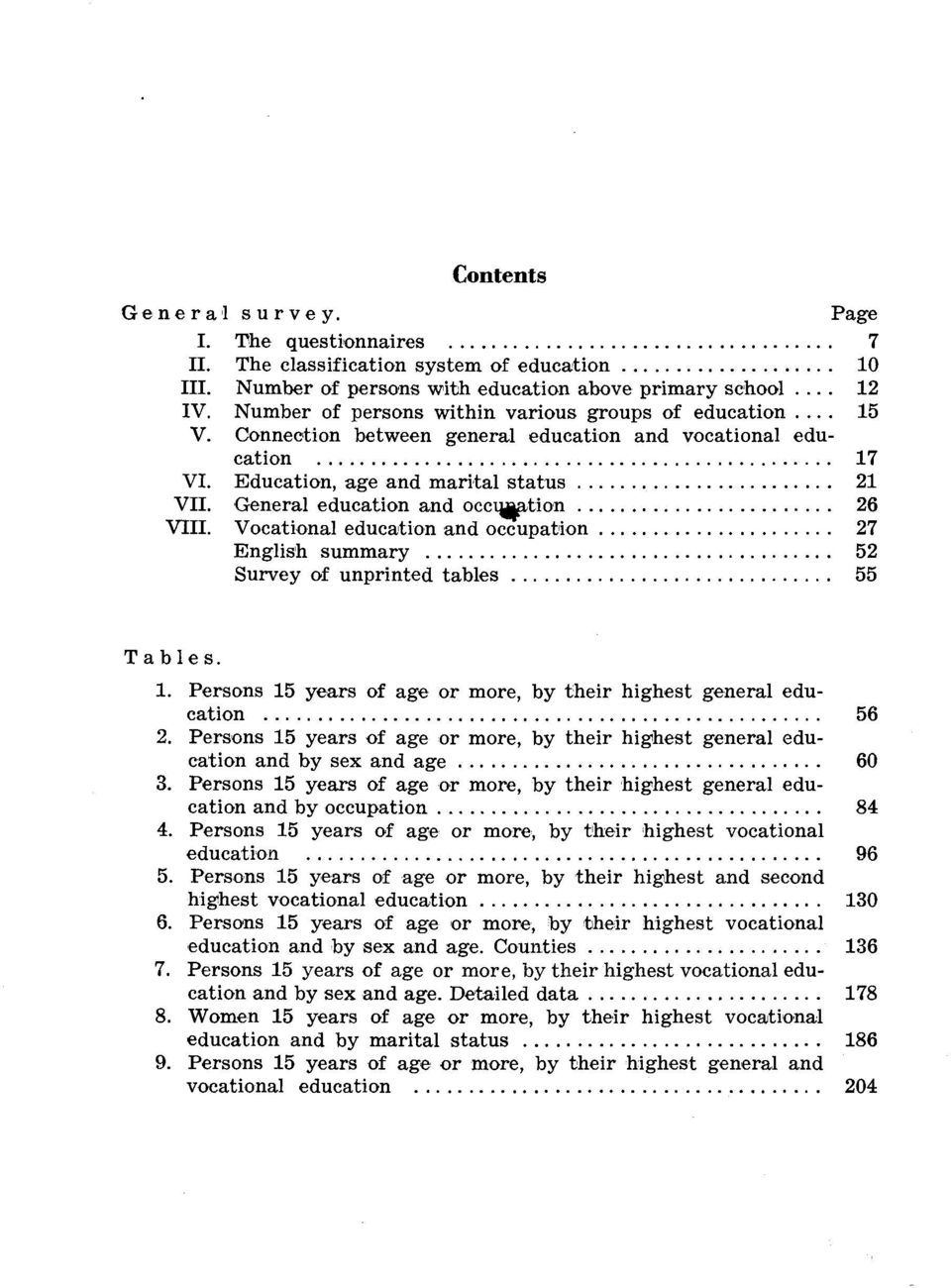 General education and occupation VIII. Vocational education and occupation English summary Survey of unprinted tables Tables.. Persons years of age or more, by their highest general education.