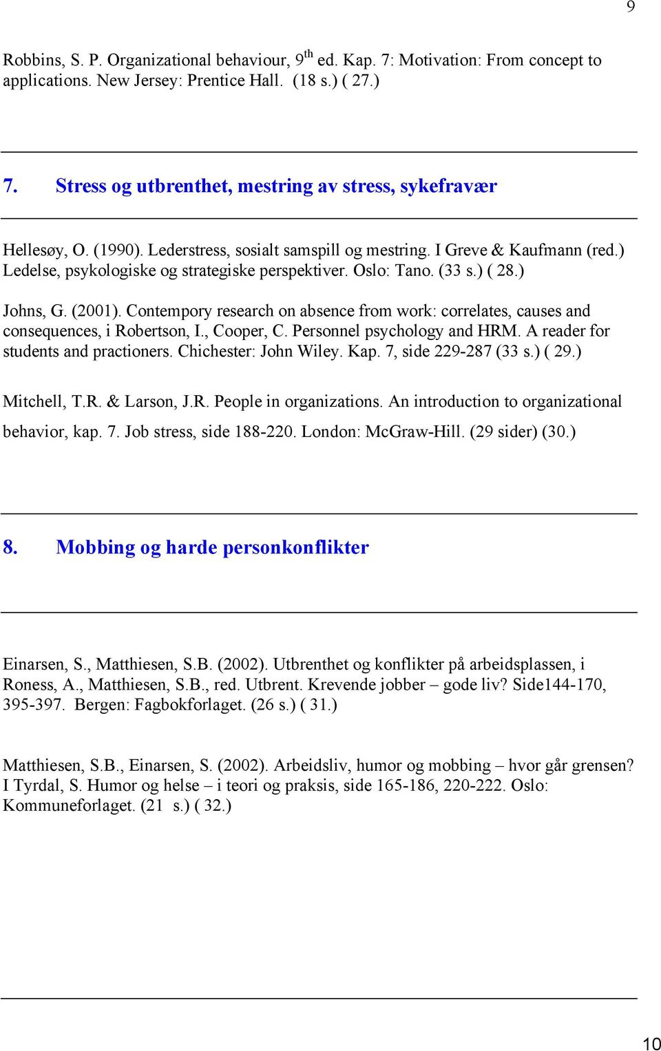 Oslo: Tano. (33 s.) ( 28.) Johns, G. (2001). Contempory research on absence from work: correlates, causes and consequences, i Robertson, I., Cooper, C. Personnel psychology and HRM.