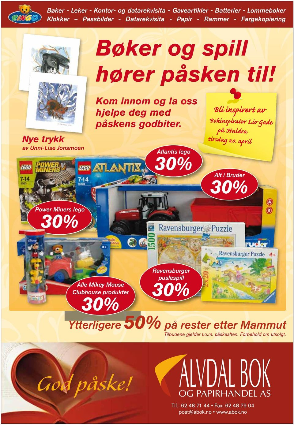 Atlantis lego 30% Alt i Bruder 30% Power Miners lego 30% Alle Mikey Mouse Clubhouse produkter 30% Ravensburger puslespill 30% Ytterligere