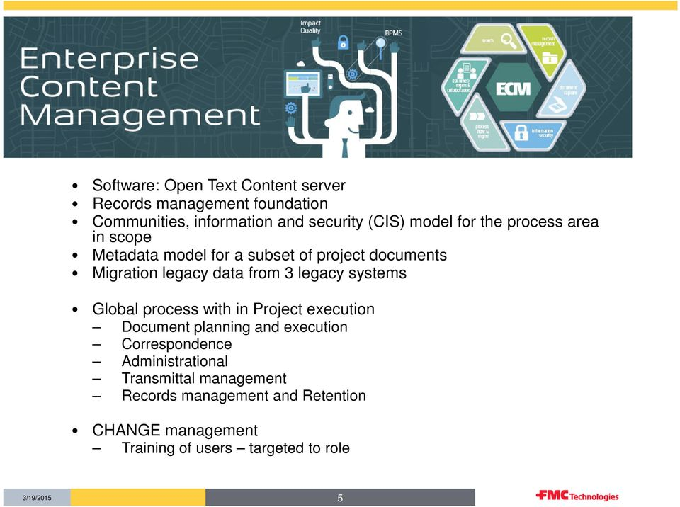 legacy systems Global process with in Project execution Document planning and execution Correspondence