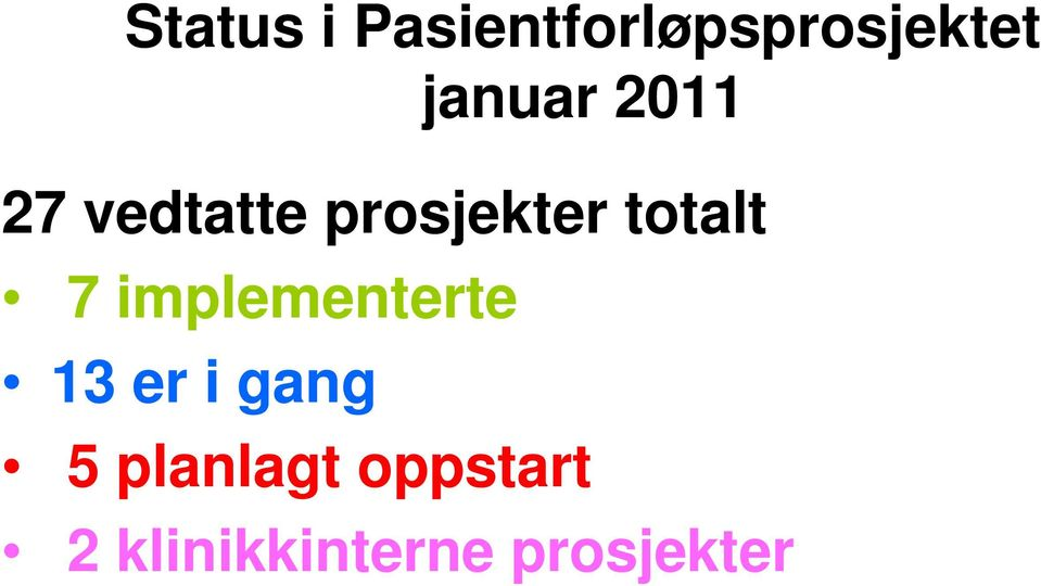 totalt 7 implementerte 13 er i gang 5