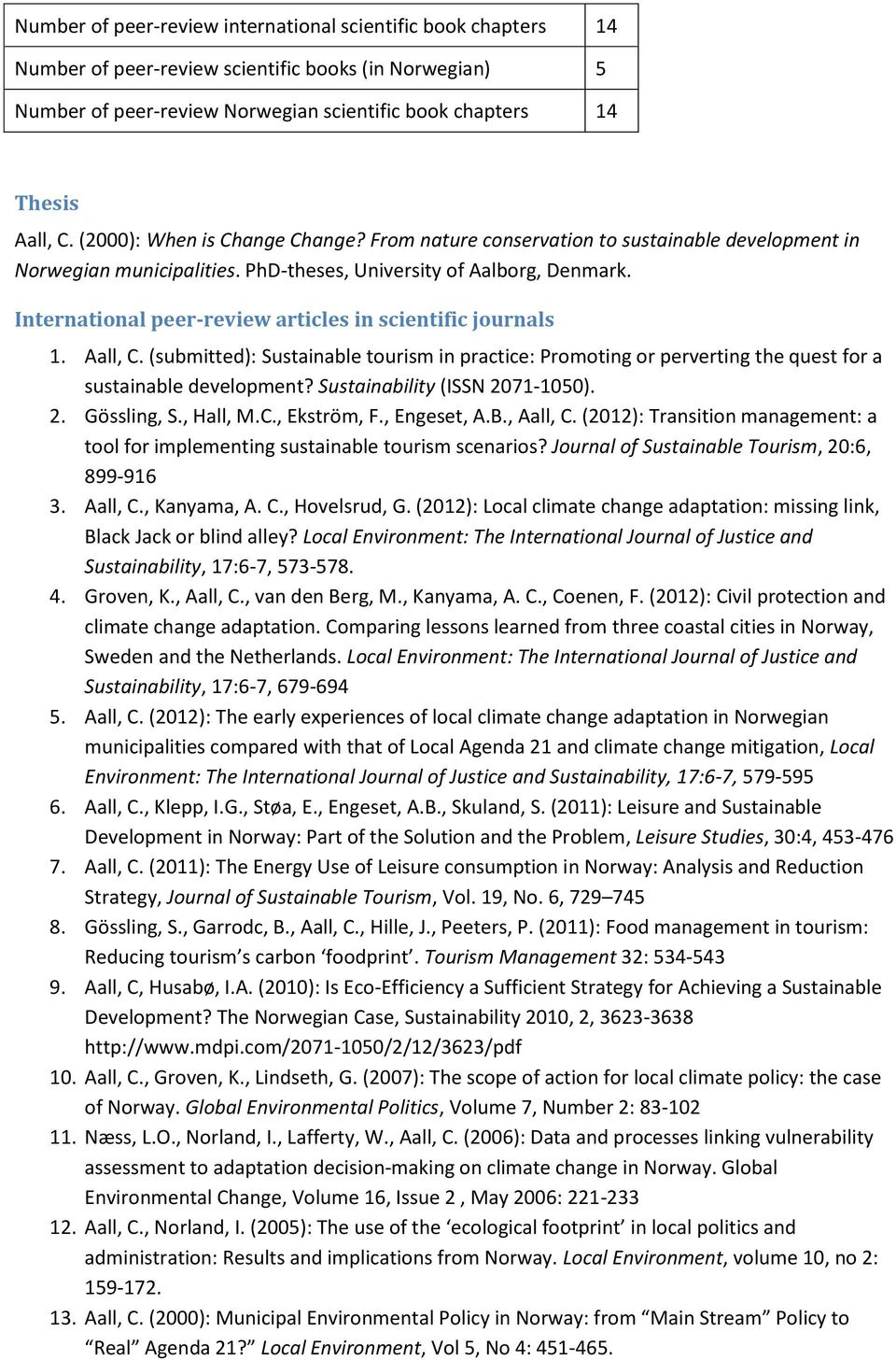 International peer-review articles in scientific journals 1. Aall, C. (submitted): Sustainable tourism in practice: Promoting or perverting the quest for a sustainable development?