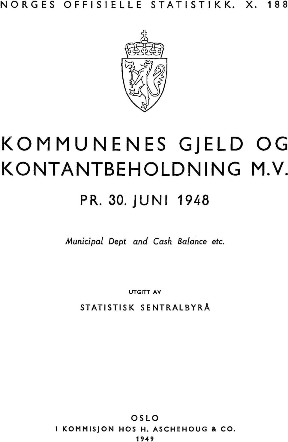 30. JUNI 1948 Municipal Dept and Cash Balance etc.