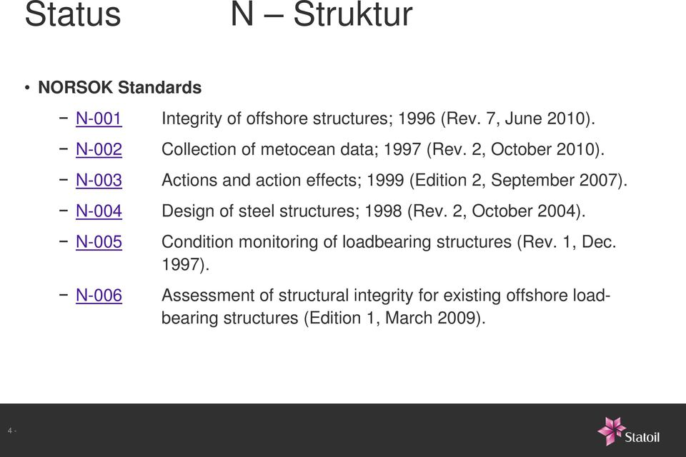 N-003 Actions and action effects; 1999 (Edition 2, September 2007). N-004 Design of steel structures; 1998 (Rev.