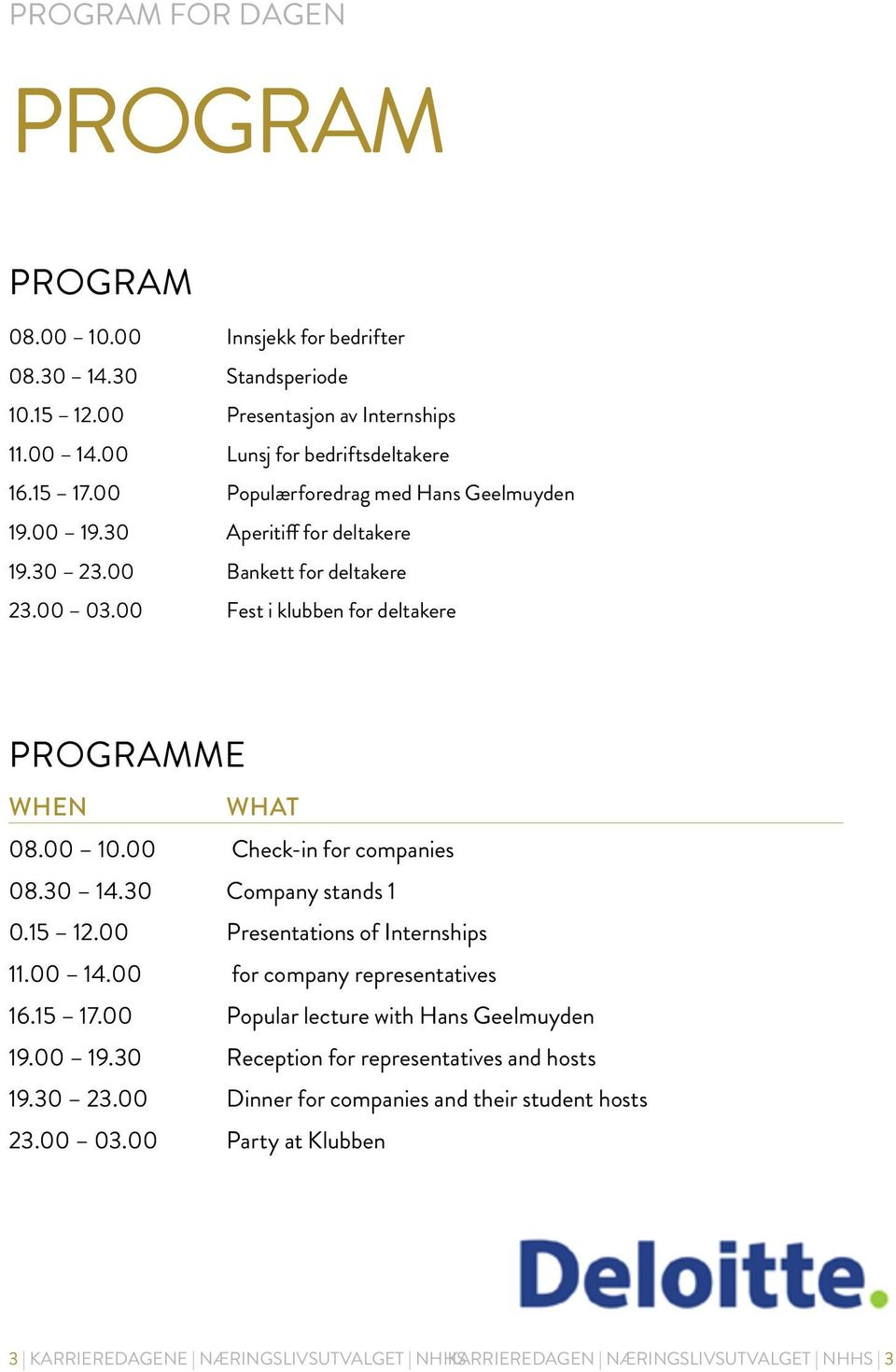 00 Check-in for companies 08.30 14.30 Company stands 1 0.15 12.00 Presentations of Internships 11.00 14.00 for company representatives 16.15 17.00 Popular lecture with Hans Geelmuyden 19.