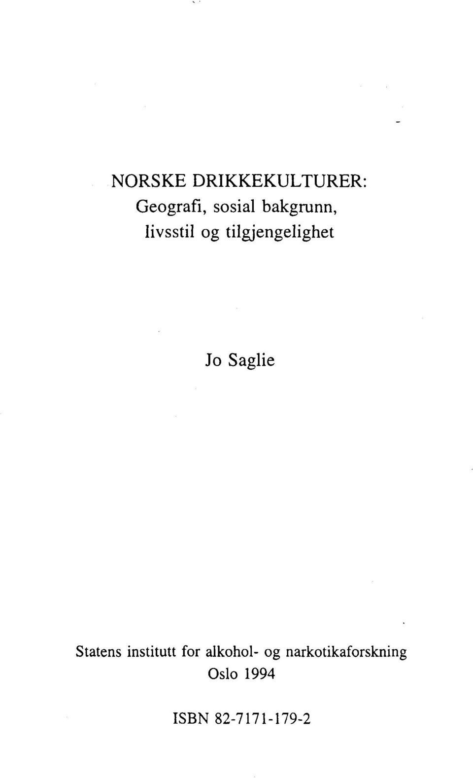 Saglie Statens institutt for alkohol- og