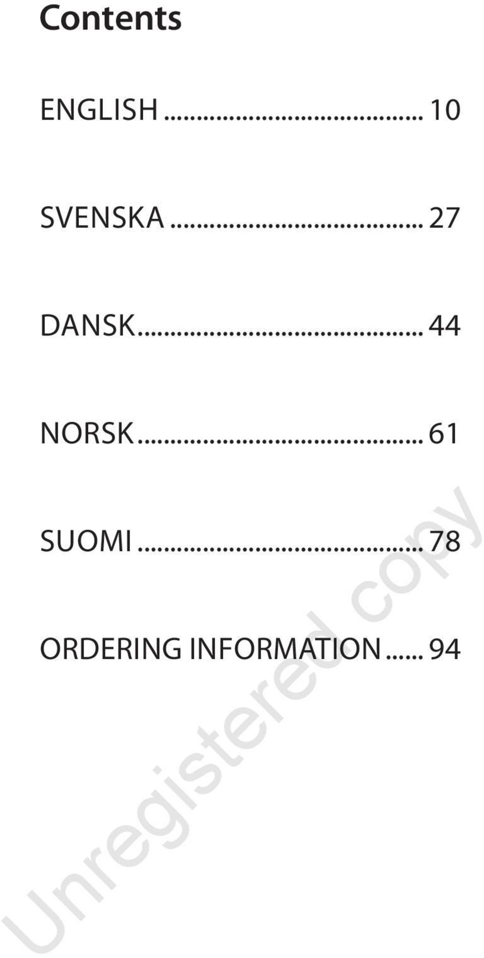 .. 44 NORSK... 61 SUOMI.